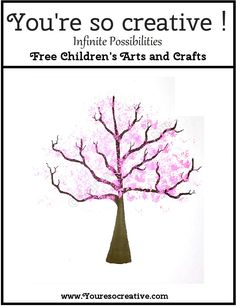 Hundreds of FREE arts and craft projects for ages three and up. Your little artist will have fun using a loofah to paint this Cherry Tree. Spring Crafts For Kids, Holiday Crafts For Kids, Craft Projects For Kids, Arts And Crafts Projects, Art For Kids, Craft Ideas, Nursery Activities, Summer Activities For Kids, Toddler Activities