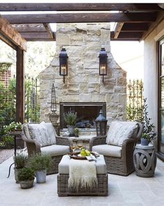 Focal point. #fireplace #fire #summer #wood #stone #outdoors #outdoor #exteriordesign #chairs #outdoorfurniture #woodtable #nature #woodworking #woodwork #amazing #wine #and #enjoy #happy #xoxo