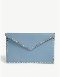 Valentino Rockstud envelope leather clutch #valentino #bag #luxury #promoted #purse #designer #rockstud #fashion Valentino Rossi, Valentino Rockstud, Valentino Clothing, Ugly To Pretty, Selfridges & Co, Envelope Design, Leather Clutch Bags, Designer Handbags