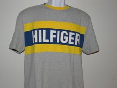 Tommy Hilfiger Men's S/S Crew Neck Gray/Yellow 100% Cotton T-Shirt Size: M & L #TommyHilfiger #EmbellishedTee