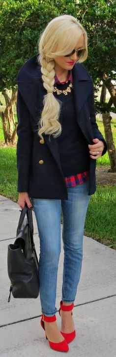 I wonder if I have a navy peacoat... lets think, I have buffalo, dark grey, black, camel oh and wonderful plaid with purple in it! , hmm, still can't believe I don't have navy too ...SB
