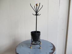 Vintage Mid-century Black Iron Coat Rack Planter