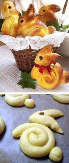 Lapin brioché pour Pâques. Préparer les goûter avec les enfants: