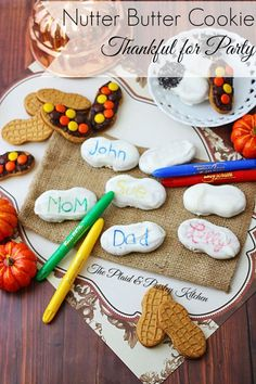 Nutter Butter Cookie Thankful for Party ~ Let the kids play with their food! With cookies and food coloring pens everyone can write who or what they are thankful for on a fun and tasty treat.