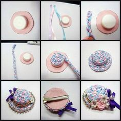 woven ribbon hat from plastic cap Hat Crafts, Sewing Crafts, Diy And Crafts, Bottle Cap Crafts, Diy Bottle, Ribbon Art, Ribbon Crafts, Accessoires Mini, Miniature Crafts