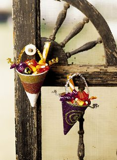 DIY - Candy-Filled Cones for decorations / treats using paper drinking cups