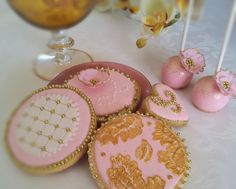 Pink and gold cookies