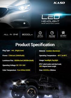 2 Pack H4 9003 HB2 Black 4 Side COB Chip LED Pure White 6500K 72W 8000 Lumens Car Headlight Conversion Kit Low Beam Headlamp HB2 Xenon White Extremely Bright Fog Driving Light