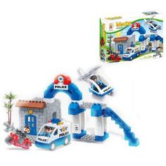 Lightahead 55 PCS Toy Police Department Building Block Set Educational Stacking Learning Activity Kit For Kids