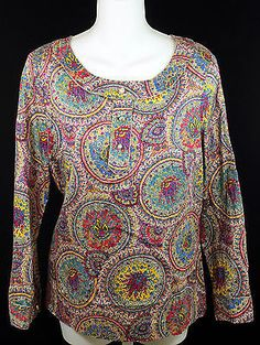 Talbots Paisley Blouse Top Womens Petite Size Small with Gold Trim and Buttons