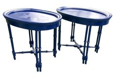 Navy Lacquered Faux-Bamboo Tables, Pair