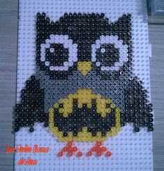 Bat Hootie hama perler beads by Jessica Bartelet - Les perles Hama de Jess Melty Bead Patterns, Pearler Bead Patterns, Perler Patterns, Beading Patterns, Cross Stitch Owl, Beaded Cross Stitch, Cross Stitch Patterns, Perler Beads, Fuse Beads