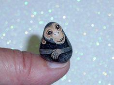 Chimpanzee dollhouse scale miniature for the mini garden lagoon, hand painted rocks by RockArtiste, $20.00