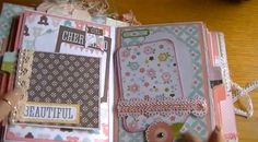 Video tutorial mini album. Some cute page layout ideas here.