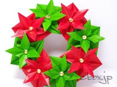 PA061961 Christmas Origami, Christmas Paper Crafts, Christmas Time, Christmas Wreaths, Christmas Decorations, Origami Wreath, Paper Crafts Origami, Origami Stars, Flower Market