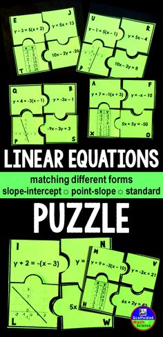 Students match different forms of the same linear equation (slope-intercept, point-slope, standard form) in this linear equations puzzle activity. Good practice for Algebra students to translate between the forms of a linear euation. Algebra Activities, Maths Algebra, Math Resources, Math Math, Math Teacher, Math Classroom, Teaching Math, 8th Grade Math, Ninth Grade