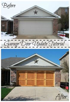 Garage Door Update Tutorial; Can be stained or painted after you update it remodelaohlic.com #garage #door