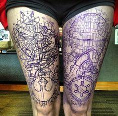 star-wars-death-star-and-millennium-falcon-tattoos-1393459388.jpg (700×685)
