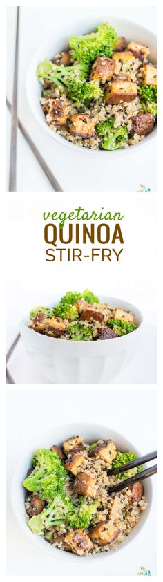 EASY dinner idea: this #vegetarian quinoa stir-fry made with CRISPY baked tofu and steamed broccoli, tossed in a SPICY asian sauce. (also #vegan and #glutenfree!)
