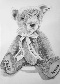Steiff-Teddy gezeichnet Teddy Bear, Portraits, Animals, Art, Animal Crafts, Drawing Animals, Puppets, Drawing S, Kunst