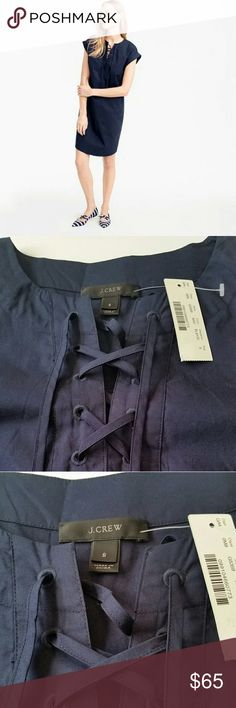 J.Crew Black label lace-up dress This is a 100% cotton navy blue dress by J.Crew.  Perfect for a casual day out or to throw on as a beach cover up. NWT..new condition.  Length: 35 2/8'' (from shoulder to bottom) J. Crew Dresses
