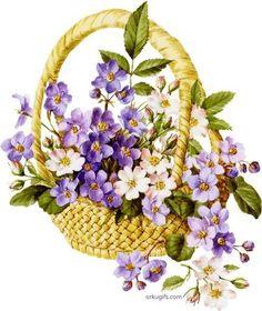 корзинка с полевыми цветами Decoupage vintage