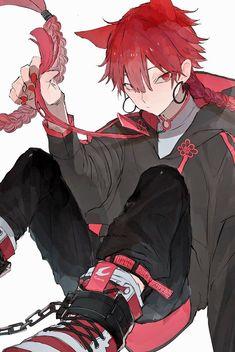 Anime Demon Boy, Dark Anime Guys, Cool Anime Guys, Handsome Anime Guys, Cute Anime Boy, Anime Cat Boy, Cute Anime Character, Character Art, Anime Lobo