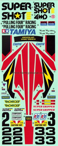 Tamiya 58054 Supershot decal - This is how the original Supershot decal looked like.