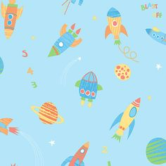 """Brewster Home Fashions You Are My Sunshine Blast Off Outer Space 33' x 20.5"""" Wallpaper 