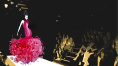 Fashionillustration painted with acrylic colors embedded in a digitally edited scene of a fashionshow. Use as desktop wallpaper. Let's celebrate Fashion! Free Download #fashion #fashionillustration #fashionshow #digitalart #wallpaper #desktopwallpaper #fashionart #painting Fashion Art, Fashion Show, Desktop, Chic Wallpaper, Haute Couture Fashion, Lets Celebrate, Acrylic Colors, Scene, Wallpapers