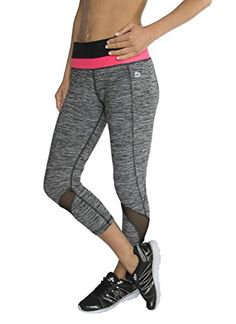 RBX Active Women's Striated Mesh Ventilated Capri Leggings,Black / Hot Pink Waistband,Large. Wear a color block pattern to look simple yet fierce. Striated pattern for an active and fashionable look. Stretch jersey fabric allows for a full range of motion and natural feel to stay focused on your workout. Fitted leggings for women. Mesh inserts designed for enhanced ventilation.