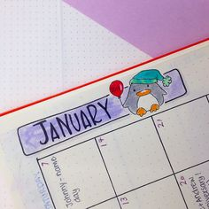 Monthly spread in my bullet journal for January - www.christina77star.co.uk