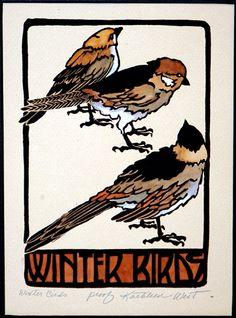 "Amazing Woodblock ""Winter Birds"" by Kathleen West"