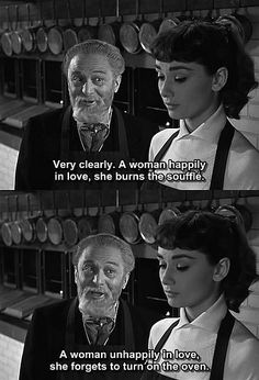 A Woman Unhappily In Love, She Forgets To Turn On The Oven In Quote From Sabrina Staring Audrey Hepburn