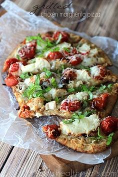 Grilled Chicken Margherita Naan Pizza - (Free Recipe below)