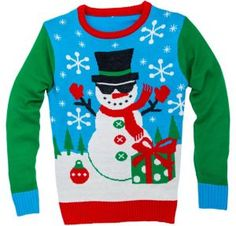 Tis the season to find the ugliest sweater! Instantly feel the spirit of the season when you don this Snowman Ugly Christmas Sweater. The blue sweater with green sleeves has a holiday forest scene on the front with a cool snowman wearing sunglasses. It will up your Christmas cred at this year's ugly sweater party.   Snowman Ugly Christmas Sweater product details:  100% acrylic  Machine wash