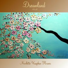 Original   abstract contemporary fine art  palette knife signature floral painting by Nicolette Vaughan Horner. $245.00, via Etsy.