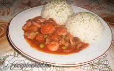 Virsli Budapest módra rizzsel recept fotóval