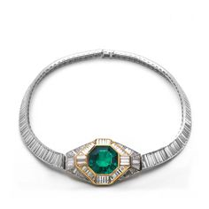 Diamond & Emerald Cartier Art Deco Necklace available at Windsor Jewelers, Inc. in New York City