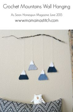 Simple, modern crochet wall hanging. Cute for a boys bedroom or to add geometric style to any room. Free pattern from Jessica and Mama In A Stitch.