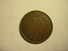 1917 Large Cent, about an inch in diameter. What Canadian pennies used to be like.