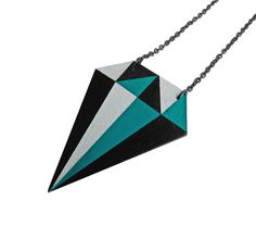 Diamond Necklace Teal by spoonfulofmint