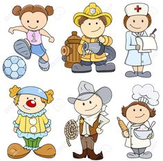 21098295-Kids-in-Various-Professions-Vector-Illustrations-Stock-Vector-cartoon-funny-cowboy.jpg (1300×1287)