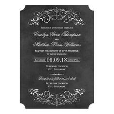 Chalkboard Wedding Invitation Vintage Wedding Invitations | Chalkboard Flourish