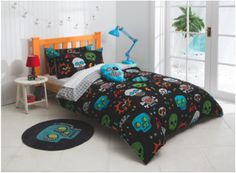 The Skulls quilt and scatter cushion set is one the designs in the new 'Esk' manchester range created exclusively for Fantastic Furniture by KAS Australia. Single $49, double $59. Boy Girl Room, Quilt Cover Sets, Scatter Cushions, Teen Bedroom, Bedroom Furniture, Comforters, Quilts, Blanket, Skulls