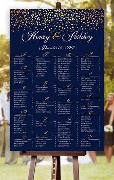 Wedding Seating Chart RUSH SERVICE Gold Polka by HappyBlueCat