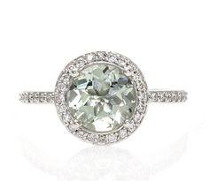 14K Green Amethyst Ring Diamond Halo Engagement Ring by RareEarth, $826.00