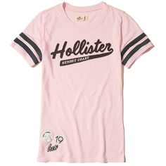 Hollister Applique Logo Graphic Tee ($15) ❤ liked on Polyvore featuring tops, t-shirts, pink, crewneck t shirt, pink tee, pink striped top, crew-neck tee and crewneck tee