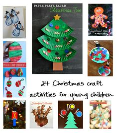 24 Christmas craft activities for young children - including toddlers, pre-schoolers, infants aged students (K-2) and children with special needs.