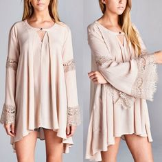 1 HR SALESABRINA bell sleeve lace top - TAUPE Solid, rayon gauze tunic top featuring a cut-out neckline and bell sleeves with lace trim. A-line silhouette. Unlined. Non-sheer. Lightweight. 100% RAYON. ALSO AVAILABLE IN BLACK. NO TRADE, PRICE FIRM Bellanblue Tops Tees - Long Sleeve